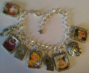 Silver Plated Charm Bracelet With Charms Alice In Wonderland Disney Cartoon