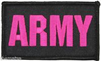 ARMY PINK LETTERS 2 X 3  EMBROIDERED UNIFORM VEST SHIRT PATCH WITH HOOK LOOP