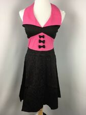 Living Dead Souls Gothic Black Pink Pinstripe Steampunk Halter Dress M NEW NWT
