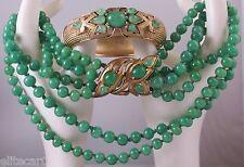 Vintage Trifari Necklace & Bracelet Set 1965 Jewels of India Philippe Glass Jade