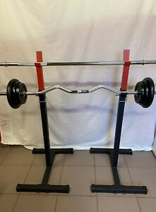 Adjustable Squat Rack One Pair Home Gym Exercise Weight Lifting Stands