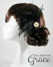 Willow vintage wedding bridal 1920s black flapper feather fascinator headpiece