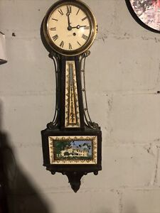 Antique New Haven 8 Day Jeweled Wall Clock