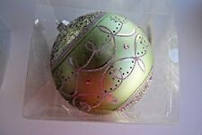 Light Green Glitter 6 iN Christmas Shatter Resistant Finial Ornament Decorations