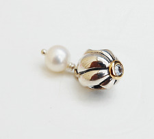 Genuine Pandora two-tone Dangle - White Pearl with Crystal - 790402CZ - retired