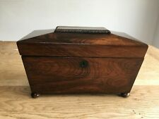 More details for antique georgian mahogany sarcophagus tea caddy with twin caddies & mixing bowl.
