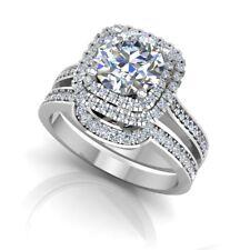 1.42 Ct Diamond Engagement Rings 14K White Gold Wedding Band Set Size O