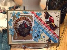 Vintage Patriotic Thanksgiving Postcard Turkey Pilgrim Divided by RWB Sash