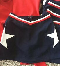 "Real Cheerleading Uniform Skirt 30"" waist red/white/navy with star never worn"