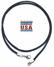 "Black Satin Silk Cord Necklace Silver/Gold Clasp 16"" 18"" 20"" 22"" 24"" 26"" 28"" 30"""