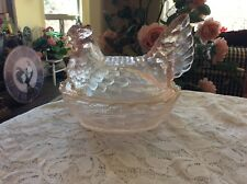 Glass Split Tail  Rooster Chicken Hen On Nest Pink Covered Candy Dish