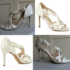 JENNY PACKHAM 'PASTEL' IVORY SATIN STRAPPY HIGH STILETTO BRIDAL SHOES NEW UK...