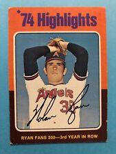 1975 Topps Card #5 Highlights Nolan Ryan Fans 300 -3rd Year in row