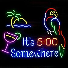 """New It's 5:00 Somewhere Parrot Palm Tree Neon Sign 19""""x15"""""""