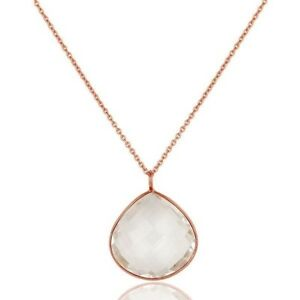 Crystal Quartz 18K Rose Gold Plated 925 Sterling Silver Necklace Jewelry