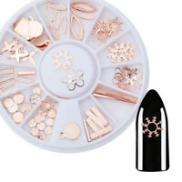 Rose Gold 3D Nail Art Decorations Sun Snowflake Manicure in Wheel Nail Tips