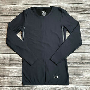 Under Armour Mid Weight Long Sleeve Shirt S SM Small Black & Grey/Gray Baselayer