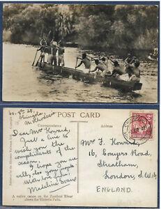 Northern Rhodesia 1941 sg 32 2d PC Native Canoe on Zambezi PM CHINGOLA 3 XII 42