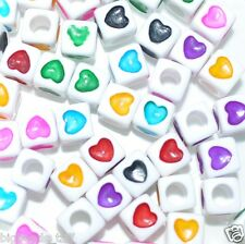 40 Pcs Acrylic Beads With Assorted Heart Cube White 7 Mm