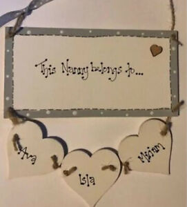 Personalised This Nanny Belongs Too Nan Gran Wooden Plaque Birthday Sign gift