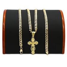 "Mens 18k Gold Plated  JESUS Shape CROSS(S) Pendant 5mm 24"" Cuban Necklace Chain"