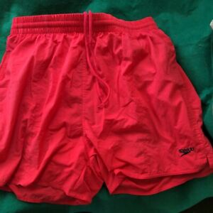 Speedo Red Swim Shorts Size Large Nylon With Pockets! Like New Condition