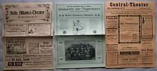 Berlin 1900 & 1906 Belle Alliance Theater und Central Theater Programm Zettel RP