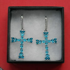 Gorgeous 925 Silver Earrings With Swiss Blue Topaz & White CZ 8.3 Gr. 6 Cm. Long