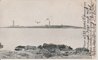Rockport MA Thatchers Island Twin Lighthouses c1907 Vintage  Postcard