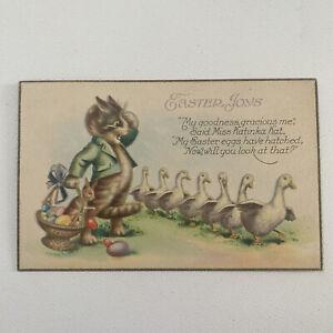 Vintage Fun Kitsch Easter Postcard Cat Easter Eggs Ducks USA 1030 C