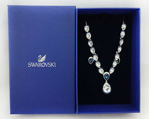 SWAROVSKI Necklace & Earrings Royal Blue & White Crystals Msrp $249.00 *NWT*