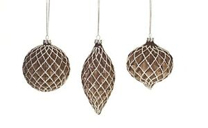 Set of 3 Brown & White GLASS CHRISTMAS ORNAMENTS, Ball, Onion, Drop, by Melrose