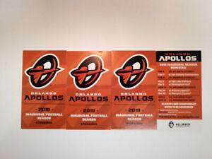 Orlando Apollos AAF 4 Pocket Schedules