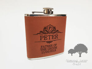 Personalised PU Leather Hip Flask Engraved 6oz Wedding Best Man Groom Gift