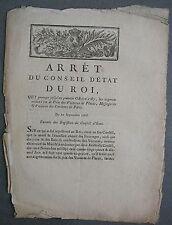 Arrêt Augmentations des Prix sur les Voitures de Places à Paris et Environs.1786