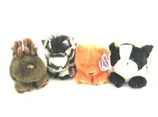 Lot of 4 Puffkins By Swibco Stuffed Plush Animals Moose Zebra Cow Bear