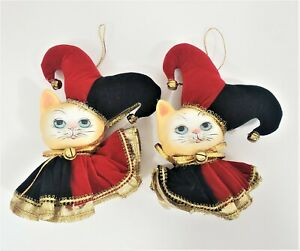 Collectible Porcelain Jester Clown Doll Christmas Ornament Cat Figurine Lot of 2