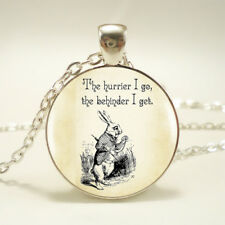 WHITE RABBIT QUOTE PENDANT NECKLACE Alice in Wonderland Jewellery Gift Idea