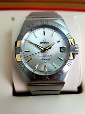 NEW GENTS OMEGA CONSTELLATION STEEL 18K GOLD CHRONOMETER WATCH £4960