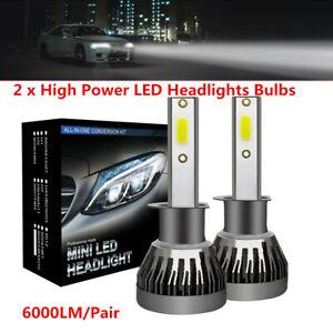 2PCS Car H1 LED Headlights Bulbs 1500W 6000LM High Beam Bulb Xenon 6000K Lamps