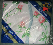 TWIN FITTED SHEET - Pink Salmon Mums & Morning Glory Flowers by Dan River - New
