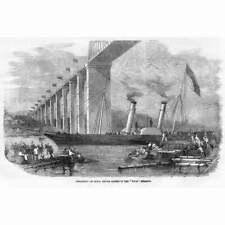 Departure of HRH Prince Albert in the Steamer Vivid - Antique Print 1859