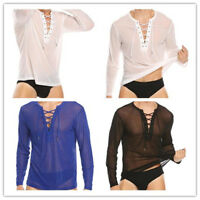 Men's Lace Up Slim Long Sleeve Mesh Muscle Tee Shirts Casual T-shirt Tops Blouse