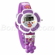 Kids Girls Cute Lovely Flower Digital Wrist Watch LED Light Children's Day Gift