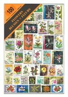100 Different Flowers Used Stamps Thematic Window Display Packet