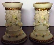 Dezine Art Deco, Ornate Candle Holders, Roses & Pearl like Braid, Hand Painted