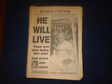Vintage Newspaper Pope John Paul II Shot NY Daily News May 14 1981 HE WILL LIVE