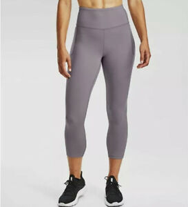 Womens Size Medium Under Armour High Rise Crop Leggings Purple 1355915-585