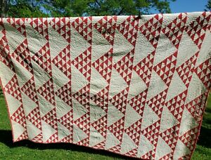 """Antique Red & Cream Flying Geese Quilt 68"""" x 90"""" Quality Craftsmanship But...."""