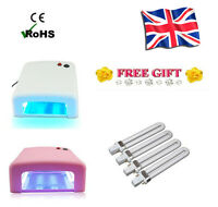 9W 36W UV Lamp Gel Curing Polish Nail Dryer Timer Light 4 x 9W Blubs + Free Gift